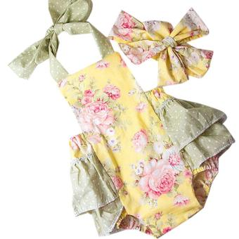 Fangfang Infant Baby Girl Summer Romper Floral Bodysuit Jumpsuit+Headband Outfits Clothes -Yellow - intl