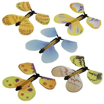 Harga 5pcs Magic Flyer Butterfly Plastic Transform Flying Butterfly Cocoon into a Butterfly Trick Prop Magic Toy - intl