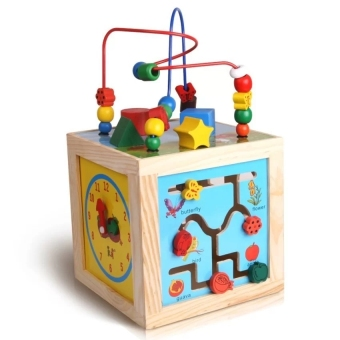 Harga Montessori Bead Maze + Clock + Shapes + Beads Maze Wooden Educational Toys