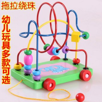 Harga Child puzzle infant intelligence toys around the bead beaded baby blocks one who have reached the age of 3 years old color cognitive