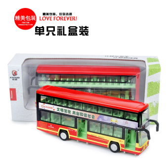 New queen live voice back of bus double-decker bus robot aged three open the door toy car model