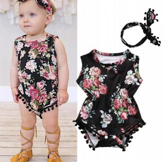 Floral Baby Girls Bodysuit Romper One-pieces Headband Sunsuit Outfits Clothes - intl