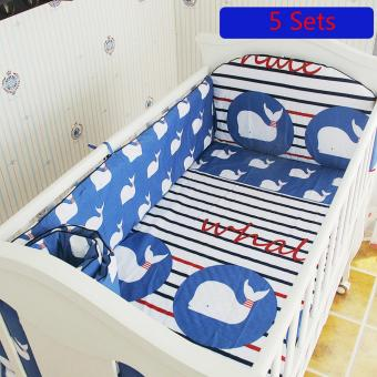 Harga 120*65CM Crib Bedding Sets Cotton Baby Bedding Sets Include Bumper Mattress Set - intl