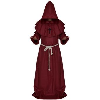 Harga MagiDeal Friar Medieval Priest Hooded Cloak Costume Wine Red S