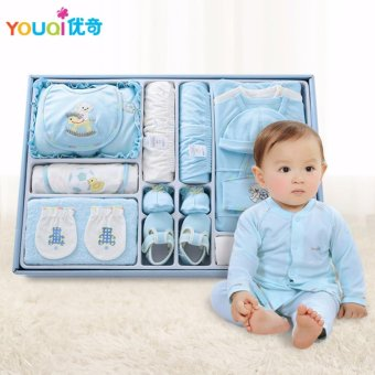 Harga 100% Quality Cotton Brand Newborn Baby Clothes 18 Pieces Gift Set Box Baby Girls Boys Presents Infant Clothing Set 3 M Romper - intl