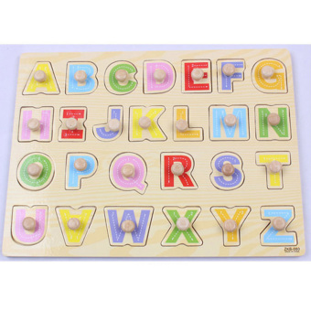 Harga 360WISH 26 Pieces Wooden Alphabet Peg Puzzle (EXPORT)