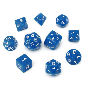 Harga 10pc/Set D4-D30 Multi-sided Dices TRPG Games Gaming Dices Acrylic Blue - Intl