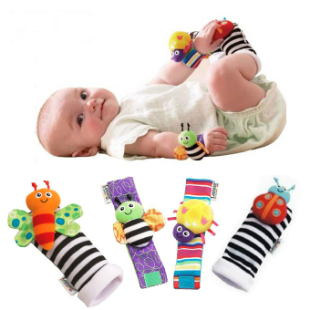 Harga Lamaze 4 Pcs New Baby Infant Foot Socks Rattles Wrist Rattles Multicolor