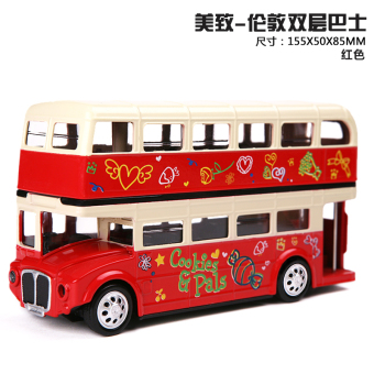 Caused by mz alloy car model simulation of london double-decker bus pull back toy car model children gift