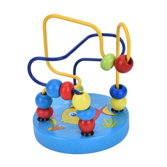 Top Educational Baby Kids Wooden Around Beads Toddler Infant Intelligence Toys Gift Fish - intl