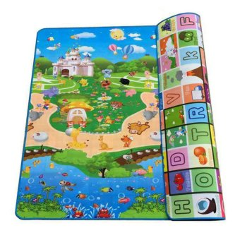 Harga BAYM Large Baby Kid Toddler Crawl Play Game Letter Alphabet Mat PlayMat Gym Tiles for In/Out Doors Non-toxic Non-slip Reversible Waterproof 180 x 200 x 0.5cm 70.9 x 78.7 x 0.2 Inches Castle - intl