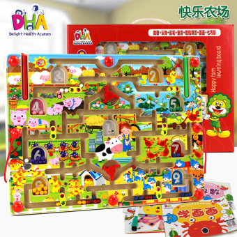DHA magnetic maze large PANDA along for the ride city maze of city ball parent-child game educational toys