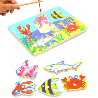 Harga 1-2-3-year-old baby wooden children's three-dimensional magnetic fishing toys large 3d puzzle parent-child kitten fishing