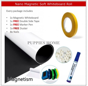 Harga Magnetic Whiteboard Roll Sticker White Board Wall Kid Graffiti Scribble Drawing Child Play Erase Magnetism Marker Pen Black Soft Deco Blackboard Chalk New House Gift Present Office