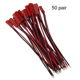 Harga 50Pairs (100pcs) 100mm JST RC model Plug socket connector 22awg Wire cable Male and Female