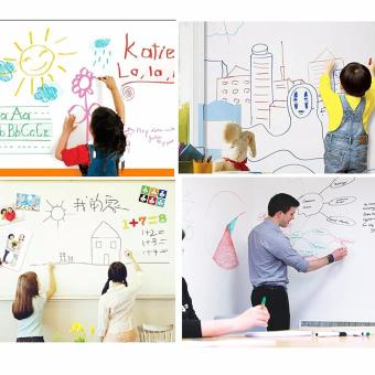 Harga Whiteboard Wall Sticker with Free Marker Pen 200cmx60cm Roll Self-adhesive Chalkboard Home Office Removable Kid Children Gift Present Deco