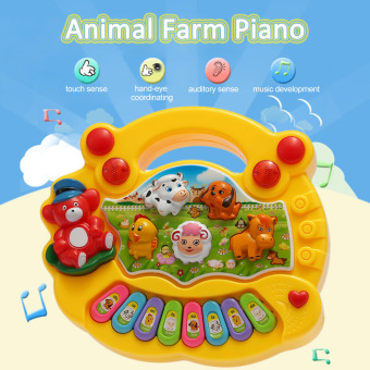 Coolplay Baby Kids Toddler Musical Educational Animal Farm Piano Electronic Keyboard Music Development Kids Toy Yellow - intl