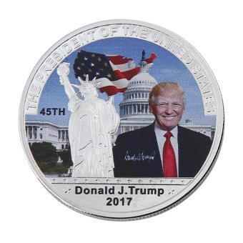 Harga leegoal 1pcs Donald Trump 45th President Of The USA Novelty Collection Coin,Personal Challenge Coin,Sliver - intl