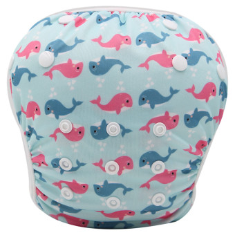 Asenappy Reuseable Washable Baby Cloth Swim Diapers Dolphin - Intl