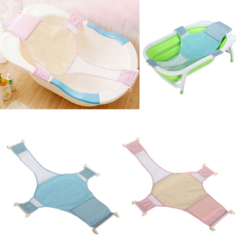 Harga Cross Baby Bath Mesh Bathtub Seat Net Support Sling Infant Bath Tub Hammock(Blue) - intl