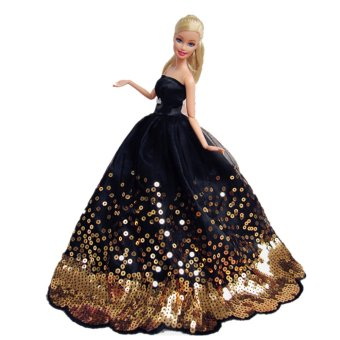 Harga Gorgeous Fairy Girl Dolls Toys Wedding Party Dresses Gown Outfits Doll Accessories for Barbie Toys Children Girls Birthday Gift Black with Sequins - intl