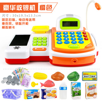 Harga 2016 new children's play house simulation cash register cashier toys for boys and girls suit
