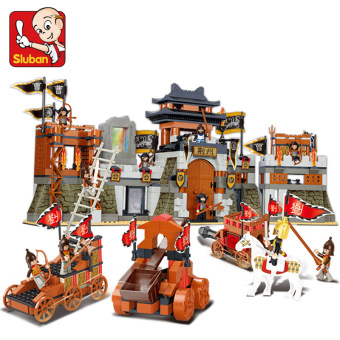 SLUBAN happy fight inserted assembled military building blocks