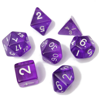 Harga 7-Dice Sided D4 D6 D8 D10 D12 D20 Magic-the-Gathering MTG D and D RPG Poly Game Set Purple (EXPORT)
