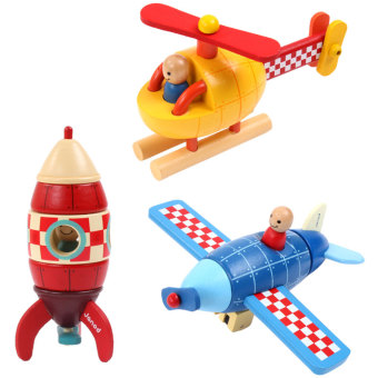 Harga Janod wooden children's removable assembled car aircraft