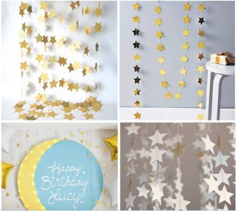 Kids' Birthday Party Decoration Gold Fringe Banner