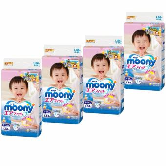 Moony AirFit Tape Diapers Size L 54pcs/pack x 4 packs
