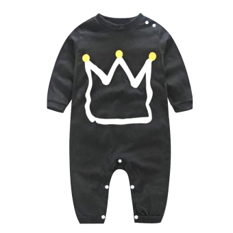 Toddler Kids Baby Boy Cotton Romper Jumpsuit Bodysuit Clothing Outfit (Black)