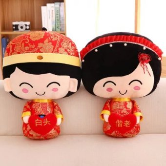 Harga Wedding presses doll one pair of creative couple wedding pillowdoll wedding gift Double Happiness