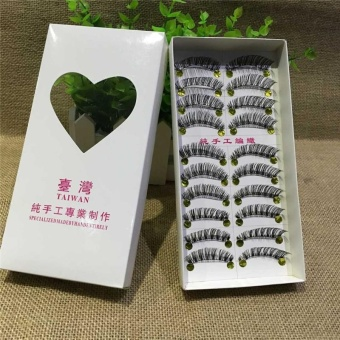 10 Pairs Makeup Soft Demi cross Long Thick False Eyelashes EyeLashes - intl