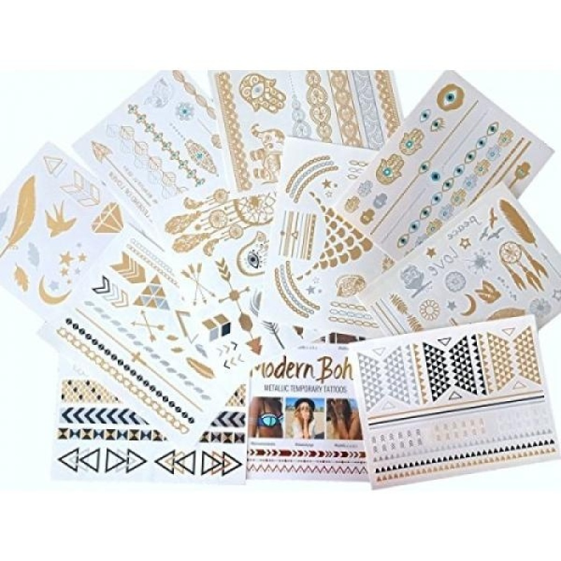 Buy 10 Sheets Modern Boho Metallic Tattoos Flash Gold/Silver Ultimate Collection - intl Singapore