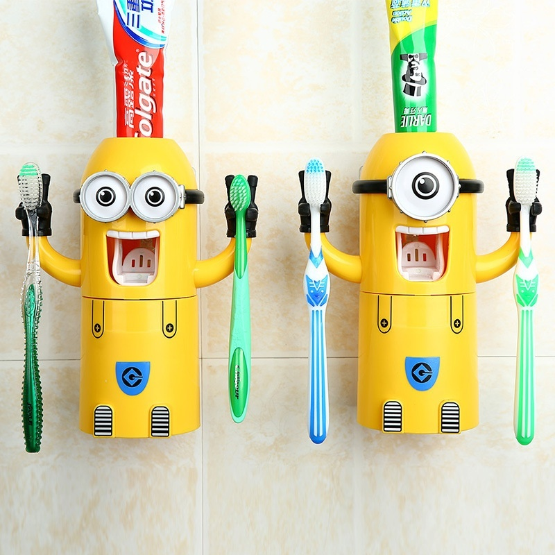 Buy 2017 Automatic Toothpaste Dispenser Creative Cartoon Cute Little Yellow Man Toothbrush Holder Suit Bathroom Supplies (Two eyes) - intl Singapore