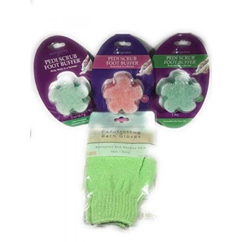 Buy 3 Pedi Scrub Foot Buffers with Exfoliating Bath Gloves - intl Singapore