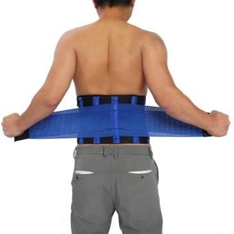Adjustable Waist Guard Back Brace Support Protector Lumbar Belt(Blue-L) - intl - 3