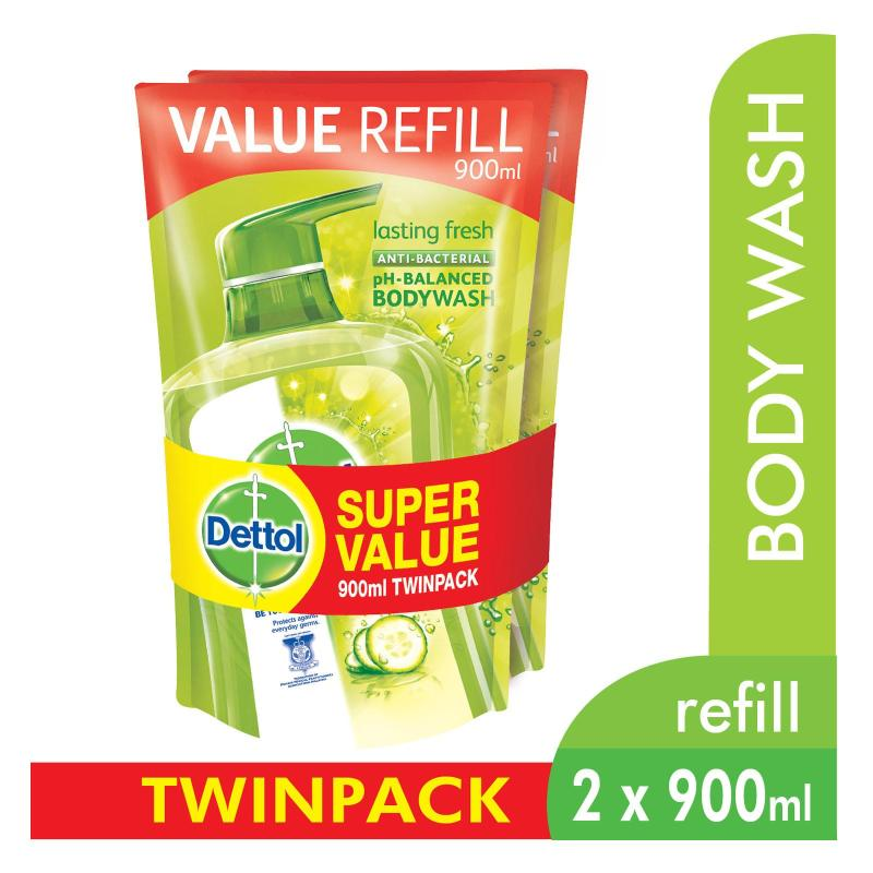 Buy Dettol Body Wash Pouch Lasting Fresh 900Ml Twin Pack Singapore