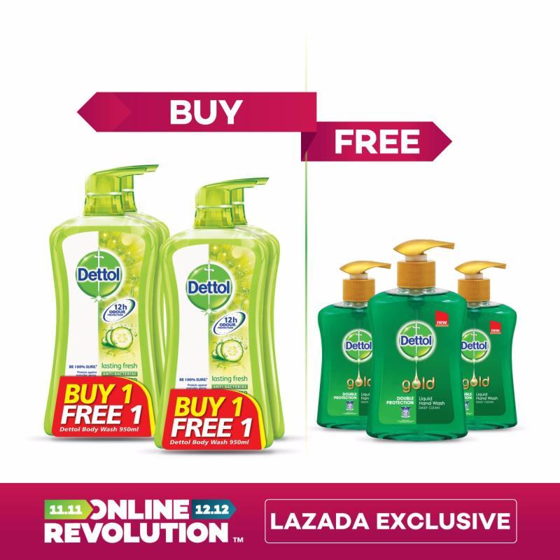 Buy Exclusive Online Revolution: Dettol Anti-Bacterial Shower Gel Lasting Fresh Twinpack BOGOF x 2 & Dettol Gold Daily Clean Liquid Hand Wash 200ML x 3 Singapore