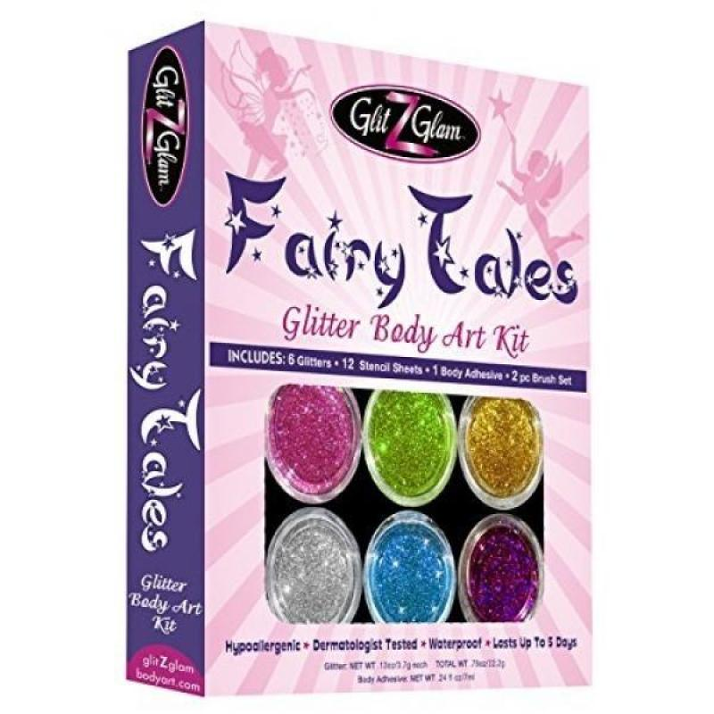 Buy Fairy Tales Glitter Tattoo Kit with 6 Large Glitters & 12 Amazing Stencils - HYPOALLERGENIC and DERMATOLOGIST TESTED! -Temporary Tattoos & Body Art Singapore