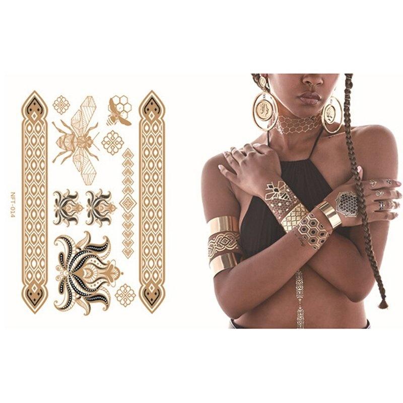 Buy Gold Silver Metallic Flash Temporary Tattoos Temporary Body Art Tattoo - intl Singapore