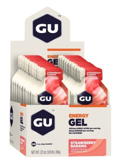 GU Energy Gel Strawberry Banana 24 Pack With Free Gift