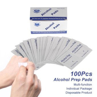 Harga 100Pcs Alcohol Prep Pads Antiseptic Sterilization Swabs Wipes Cleanser Portable First Aid Home Use - intl
