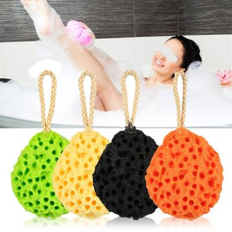 Harga Soft Sponge Body Shower Spa Exfoliator Washing Cleansing Scrubber Bath Ball (Yellow) - intl