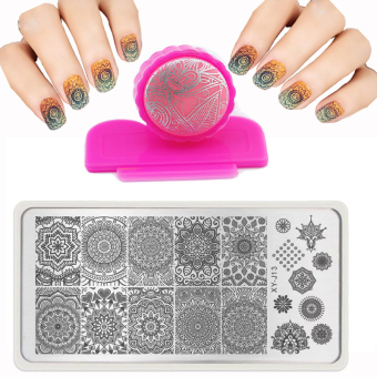 Harga 6X12cm Hot Fashion Nail Stamping PLates Set Plates Accessories Lace Stainles Nail Art Templates + DIY Stamper + 1 Scraper Beauty