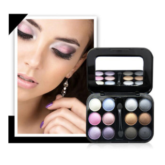 Harga Professional Naked Eye Makeup Palette 12 Colors Smoky Cosmetics Makeup Diamond Bright Glitter Eyeshadow Palette Eye Shadow-1#