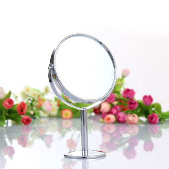 Harga Hot Sale Mini 3 inch Lady Girl Beauty Make Up Cosmetic Dual Side Normal Magnifying Round Stand Mirror - intl