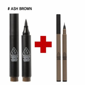 Harga [3CE] EYEBROW SET: TATTOO MARKER + SLIM TINTED #ASH BROWN - intl