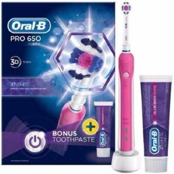 Harga Oral B Pro 650 3D action 3D White with toothpaste - Bonus pack (Pink)